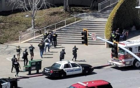 The scenes following the shooting at the headquarters of YouTube in San Bruno, California - Credit: Reuters