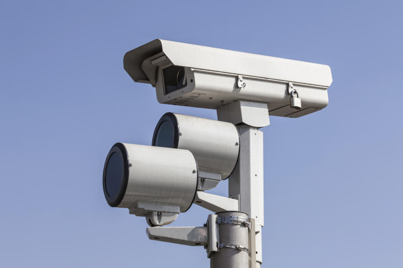 Pictured is a red light camera.