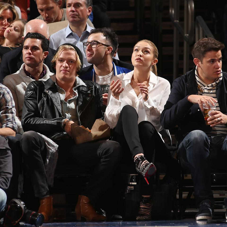 Gigi Hadid attends the Brooklyn Nets game against the New York Knicks in 2015.