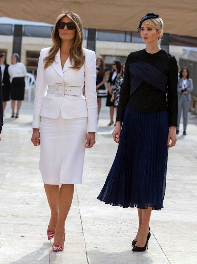 First lady Melania Trump and first daughter Ivanka Trump walk at the Western Wall plaza in Jerusalem's Old City. (Photo: Getty Images)
