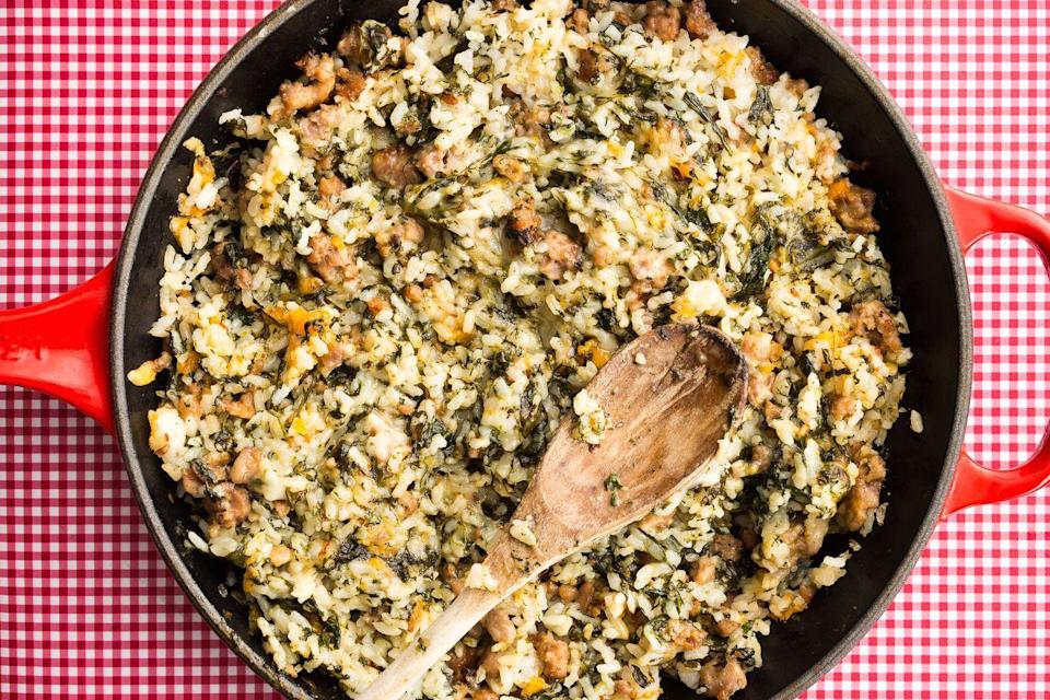 """<p>This rice dish is filled with sausage, spinach and <em>tons</em> of cheese.</p><p>Get the recipe from <a href=""""https://www.delish.com/cooking/recipe-ideas/recipes/a46754/cheesy-italian-rice-with-sausage-recipe/"""" rel=""""nofollow noopener"""" target=""""_blank"""" data-ylk=""""slk:Delish"""" class=""""link rapid-noclick-resp"""">Delish</a>.</p>"""