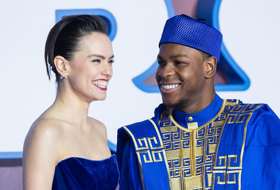 """John Boyega and Daisy Ridley attend """"Star Wars: The Rise of Skywalker"""" European Premiere at Cineworld Leicester Square on December 18, 2019 in London, England [Photo: Getty]"""