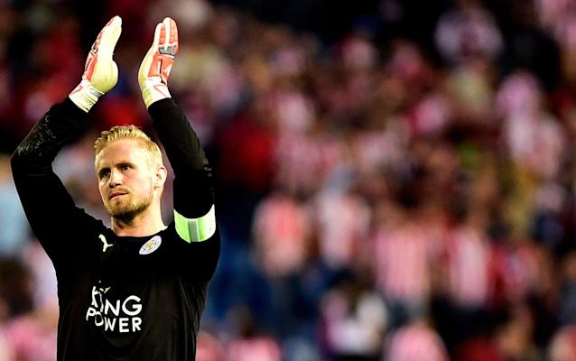 <span>Kasper Schmeichel, once again, produced an assured performance in the Leicester goal</span> <span>Credit: Getty Images </span>