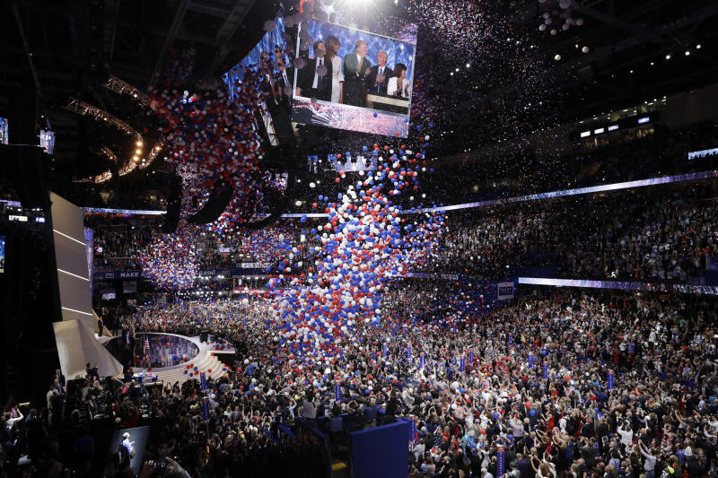 Balloons fall after Republican Presidential Candidate Donald Trump, addresses the delegates during the final day of the Republican National Convention in Cleveland, Thursday, July 21, 2016. (AP Photo/John Locher)