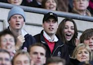 <p>Kate, a known sports fan, along with Prince William and Harry, cheered on the English rugby team at a championship match against Italy.</p>