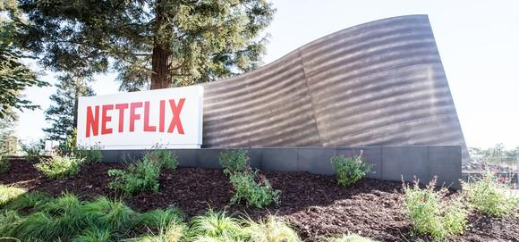 Netflix sign at Los Gatos headquarters