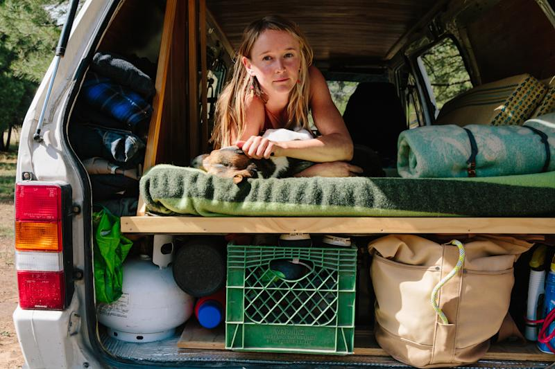 Laura Quinn in her van home in the Coconino National Forest outside Flagstaff, Arizona.  (Caitlin O'Hara for HuffPost)