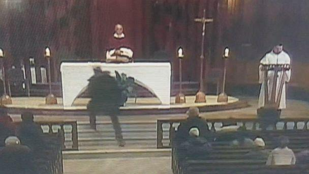 PHOTO: A Catholic priest was stabbed while celebrating Mass in Montreal, March 22, 2019, as stunned parishioners looked on, according to officials and video footage. The attack was broadcast on a live video stream. (Obtained by ABC News)