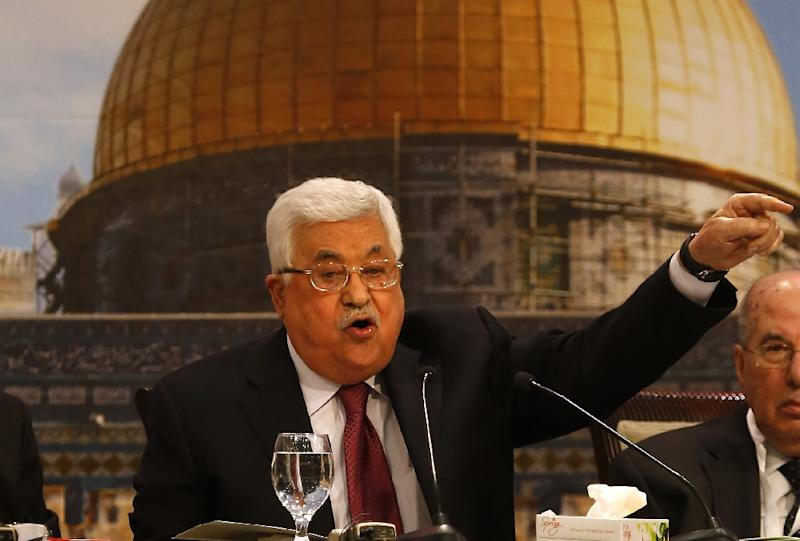 Palestinian president Mahmud Abbas gestures as he chairs a Palestinian National Council meeting in Ramallah