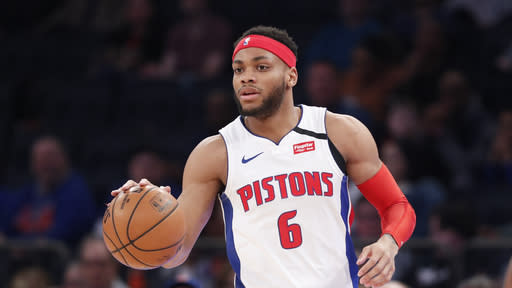 Detroit Pistons guard Bruce Brown (6) handles the ball during the first half of an NBA basketball game against the New York Knicks in New York, Sunday, March 8, 2020. (AP Photo/Kathy Willens)