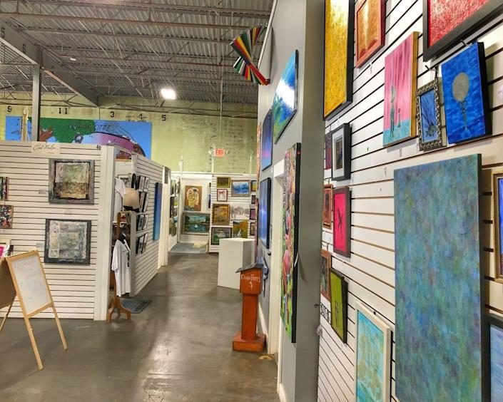 An interior shot of the Charlotte Art League space on Raleigh Street near NoDa. Founded in 1965, the league has more than 200 emerging and seasoned artist members who create in a variety of mediums: jewelry, mixed media, paint, photography, sculpture, silks, spoken word, textiles, and more. CAL's building has studios and classroom and exhibit space. It's free to visit.