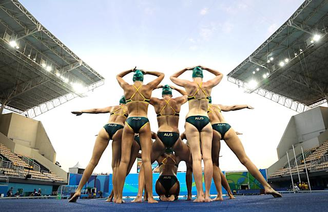 <p>Members of the Australian synchronized swimming team take part in a training session at the Maria Lenk Aquatic Center ahead of the 2016 Summer Olympics in Rio de Janeiro, Brazil, Saturday, Aug. 6, 2016. (AP Photo/Wong Maye-E) </p>