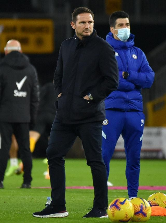 Frank Lampard watched the players warm-up at Wolves