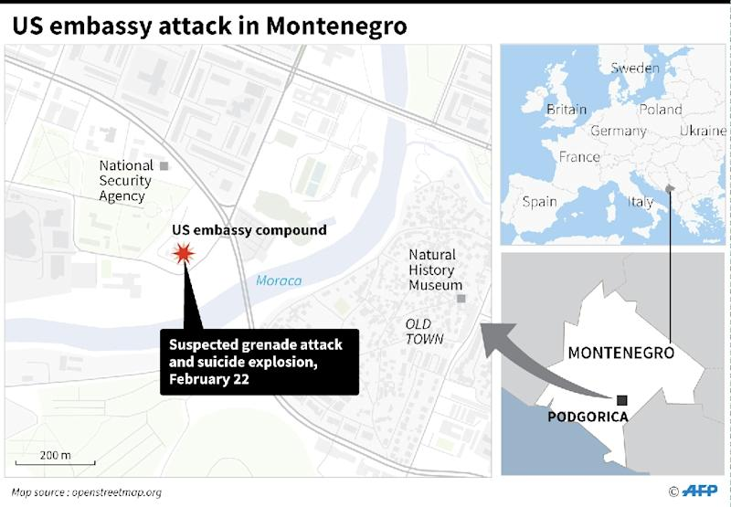 Close-up map locating the US embassy in Podgorica. (AFP Photo/Laurence CHU)