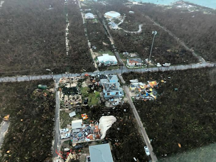 An aerial view shows devastation after hurricane Dorian hit the Abaco Islands in the Bahamas, September 3, 2019, in this image obtained via social media. (Photo: Michelle Cove/Trans Island Airways/via Reuters)