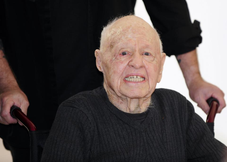 """Actor Mickey Rooney arrives at the opening night of the UCLA Film and Television Archive film series """"Champion: The Stanley Kramer Centennial"""" and the world premiere screening of the newly restored """"Death of a Salesman"""" in Los Angeles, California in this August 9, 2013 file photo. Rooney, the pint-sized screen dynamo of the 1930s and 1940s best known for his boy-next-door role in the Andy Hardy movies, died on April 6, 2014 at 93, the TMZ celebrity website reported. It did not give a cause of death and a spokesman was not immediately available for comment. REUTERS/Gus Ruelas/Files (UNITED STATES - Tags: ENTERTAINMENT OBITUARY PROFILE)"""