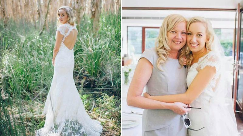 Pictured is Sian Lucas posing in her custom made wedding dress and with her mother on her wedding day.