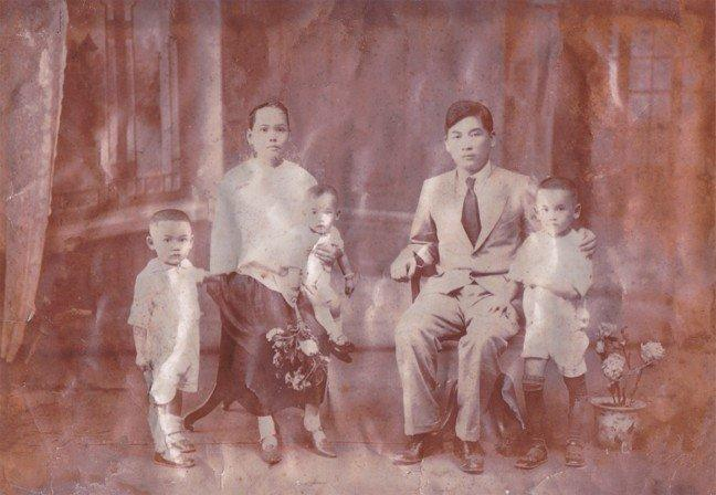 A Lowe Family portrait taken in China around 1929 featuring Samuel Lowe (Lowe Ding Chow), sons Chow Woo, Chow Kong and Chow Ying, and his wife, Ho Swee Yin. (Courtesy Of Finding For Samuel Lowe)