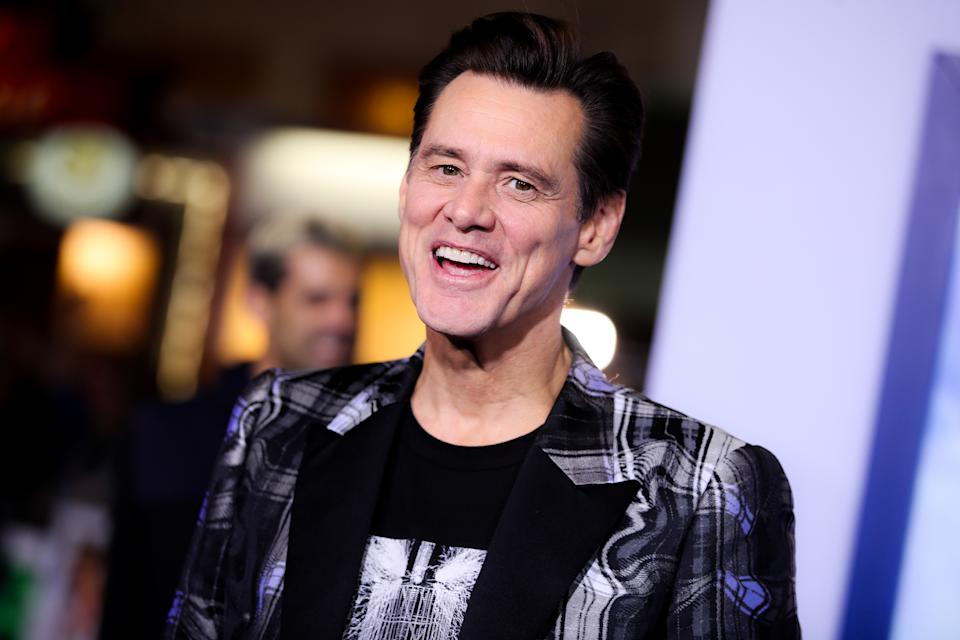 """WESTWOOD, CALIFORNIA - FEBRUARY 12: Jim Carrey attends the LA special screening of Paramount's """"Sonic The Hedgehog"""" at Regency Village Theatre on February 12, 2020 in Westwood, California. (Photo by Rich Fury/WireImage,)"""