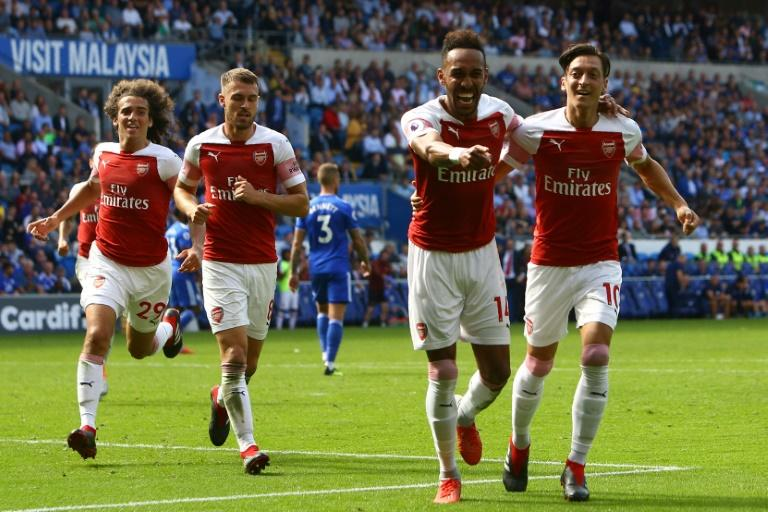 Pierre-Emerick Aubameyang got up and running for the season as he found the net in Arsenal's win at Cardiff