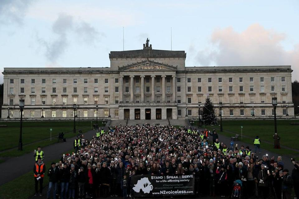 Anti-abortion protesters stage a silent demonstration at Stormont against the recent liberalisation of abortion laws in Northern Ireland (Brian Lawless/PA) (PA Archive)
