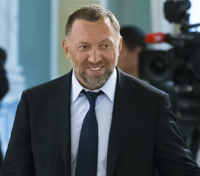 FILE - In this Aug. 9, 2016, file photo, Russian metals magnate Oleg Deripaska attends a meeting of Russian President Vladimir Putin and Turkish President Recep Tayyip Erdogan with businessmen in the Konstantin palace outside St. Petersburg, Russia. (AP Photo/Alexander Zemlianichenko, file)