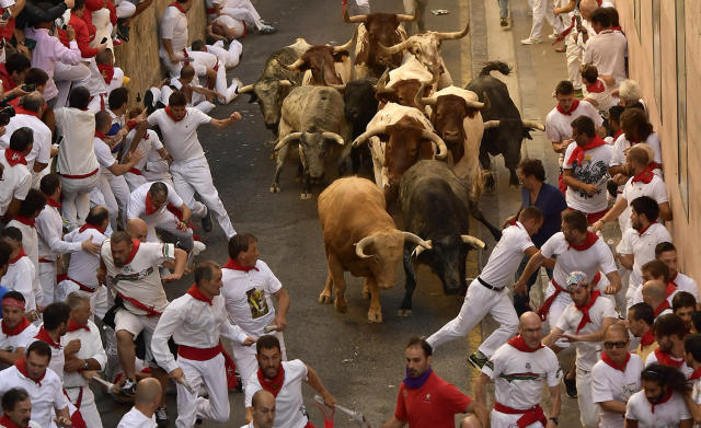 <p>Revellers run in front of Cebada Gago fighting bulls during the first running of the bulls at the San Fermin Festival, in Pamplona, northern Spain, July 7, 2017. (Alvaro Barrientos/AP) </p>