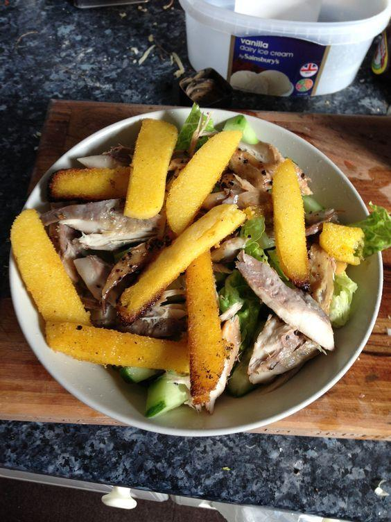 <p>Use pre-prepared polenta to speed this up. Slice and griddle and serve with salad and smoked mackerel, adding a tomato pesto dressing. <i>[Photo: Pinterest/Tom Cheesewright]</i></p>