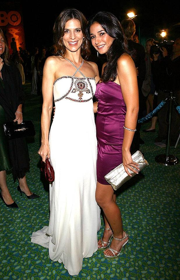 """Perry Reeves donned an elegant white gown, while her """"Entourage"""" costar Emmanuelle Chirqui opted for a flirty cocktail frock. <a href=""""http://www.filmmagic.com/"""" target=""""new"""">FilmMagic.com</a> - September 21, 2008"""