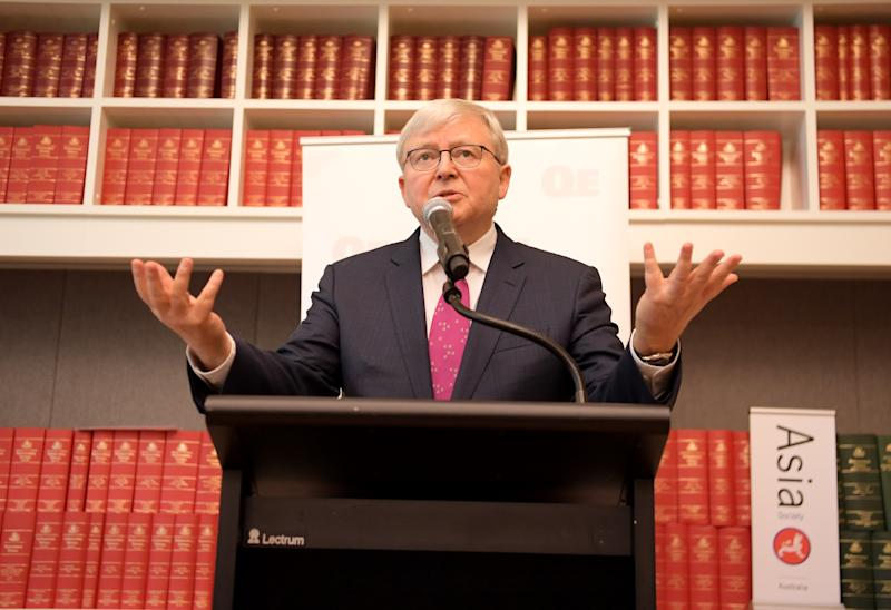 CANBERRA, AUSTRALIA - NOVEMBER 26: Former Prime Minister Kevin Rudd speaks at the launch of 'Red Flag, Waking Up To China's Challenges' Quarterly Essay by Peter Hartcher at Parliament House on November 26, 2019 in Canberra, Australia. Former Prime Minister Kevin Rudd launched the latest Quarterly Essay 'Red Flag, Waking Up To China's Challenges' by Peter Hartcher. (Photo by Tracey Nearmy/Getty Images)