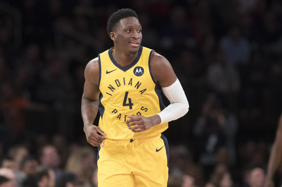 Indiana Pacers guard Victor Oladipo reacts in the second half of an NBA basketball game against the New York Knicks, Friday, Jan. 11, 2019, at Madison Square Garden in New York. The Pacers won 121-106. (AP Photo/Mary Altaffer)