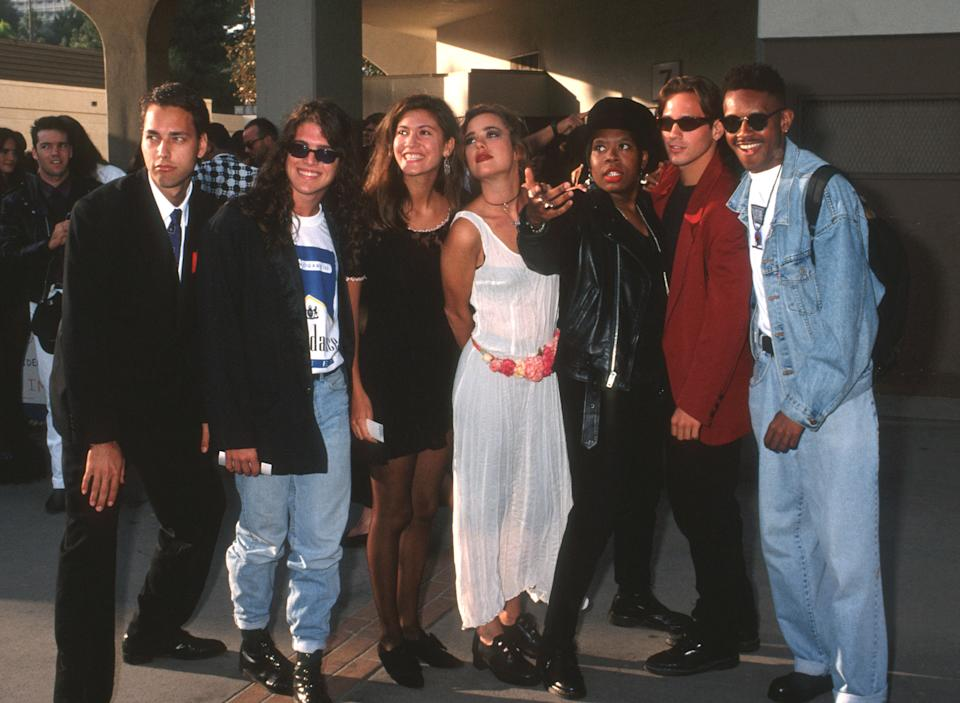 Norman Korpi, Andre Comeau, Julie Gentry, Becky Blasband, Heather B. Gardner, Eric Nies, and Kevin Powell at the 1992 MTV Video Music Awards. (Photo: Ron Galella, Ltd./Ron Galella Collection via Getty Images)