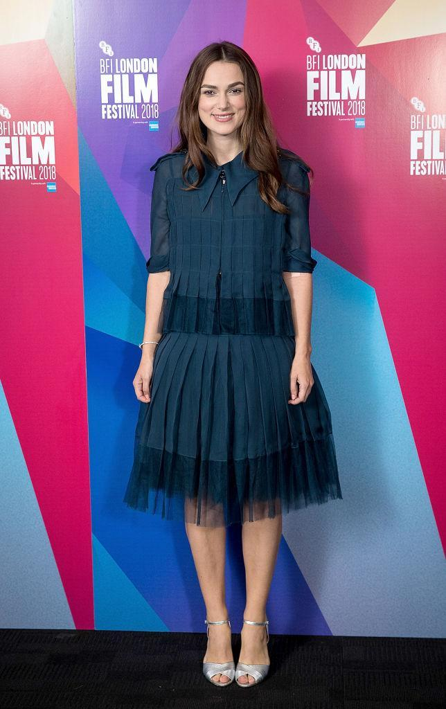 <p>On October 12, Keira Knightley chose a teal Chanel shirt dress for 'Screen Talks' during the BFI London Film Festival. <em>[Photo: Getty]</em> </p>