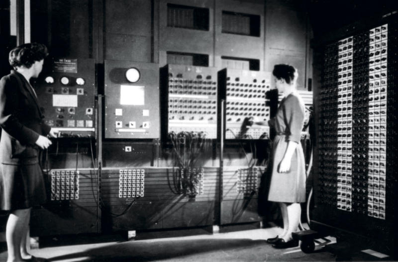 </a> Jennings, left, and Frances Bilas operate the main control pane of ENIAC in 1946Photo: U.S. Army