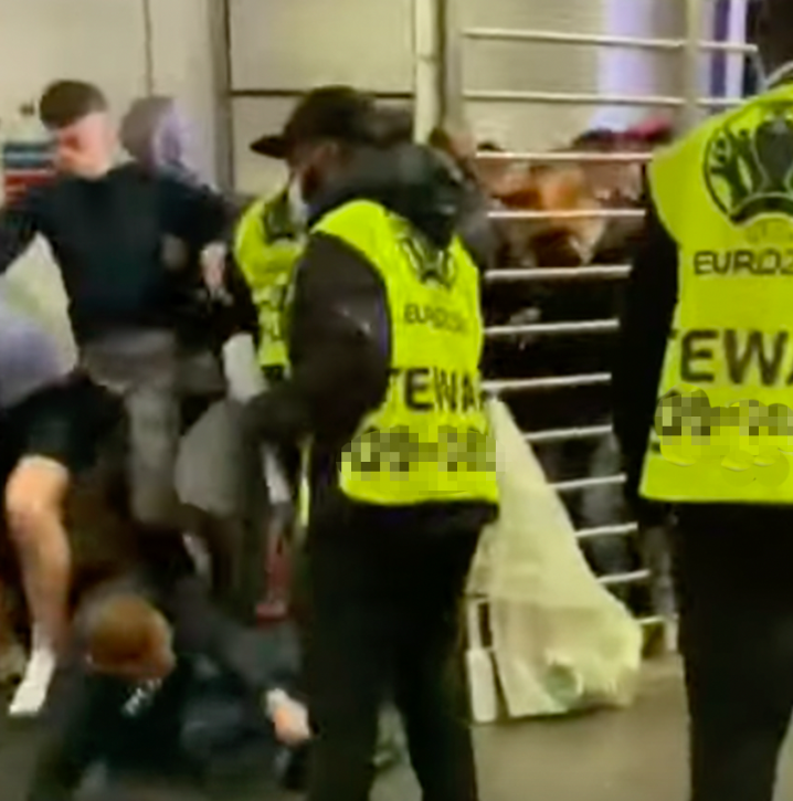 Fans barged past security in an attempt to get inside Wembley Stadium for the Euro 2020 final on Sunday.