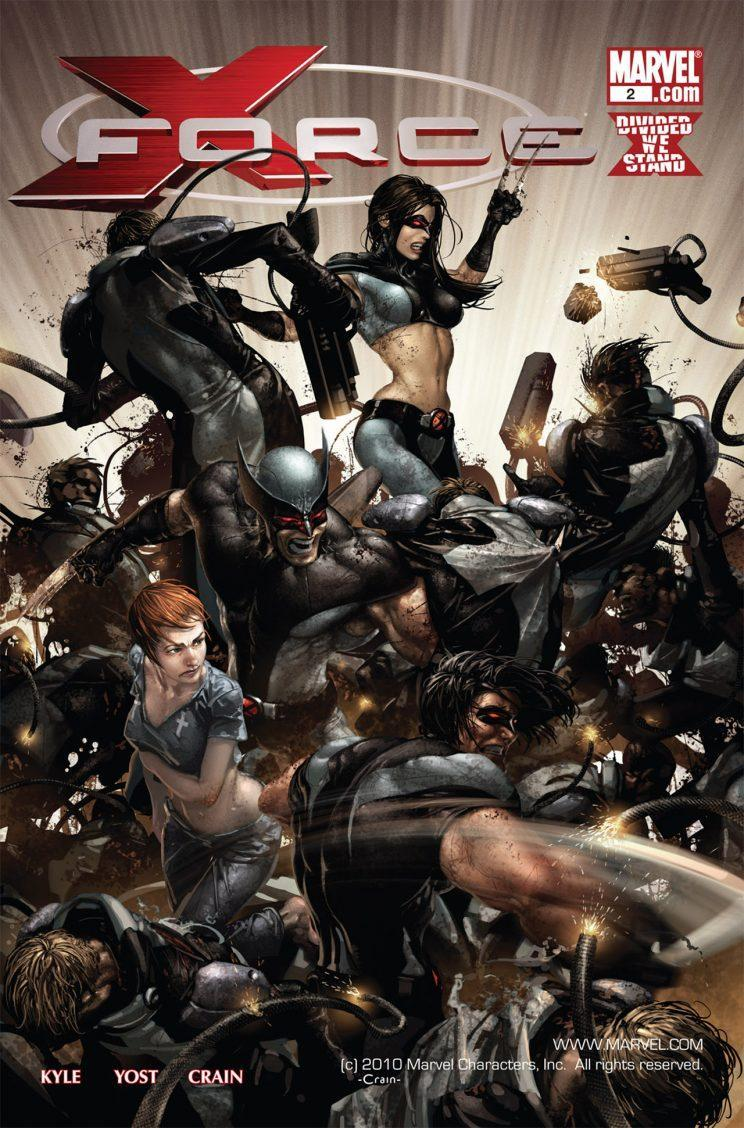Laura (center, top) shredding it up with X-Force. (Image: Marvel Comics)