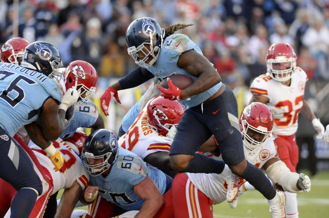 Tennessee Titans running back Derrick Henry (22) scores a touchdown on a 1-yard run against the Kansas City Chiefs in the second half of an NFL football game Sunday, Nov. 10, 2019, in Nashville, Tenn. (AP Photo/Mark Zaleski)