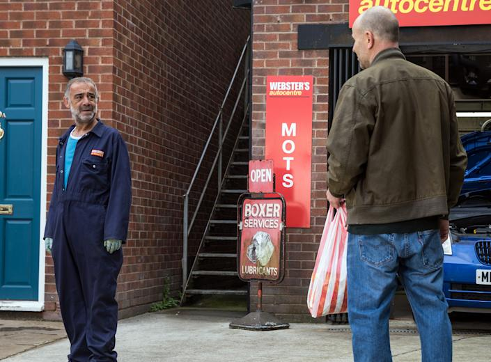 FROM ITV  STRICT EMBARGO - No Use Before  Tuesday 21st September  2021  Coronation Street - Ep 10445  Friday 1st October 2021 - 2nd Ep   Having learned of Kevin Webster's [MICHAEL LE VELL] attempts to wreck Corey's reputation at County, Stefan Brent [PAUL OPACIC] calls at the garage to warn him off.  Seeing the strain his pal's under, Tim Metcalfe [JOE DUTTINE] urges him to forget about justice for Abi and focus on his life with Jack.  Picture contact David.crook@itv.com  Photographer Danielle Baguley  This photograph is (C) ITV Plc and can only be reproduced for editorial purposes directly in connection with the programme or event mentioned above, or ITV plc. Once made available by ITV plc Picture Desk, this photograph can be reproduced once only up until the transmission [TX] date and no reproduction fee will be charged. Any subsequent usage may incur a fee. This photograph must not be manipulated [excluding basic cropping] in a manner which alters the visual appearance of the person photographed deemed detrimental or inappropriate by ITV plc Picture Desk. This photograph must not be syndicated to any other company, publication or website, or permanently archived, without the express written permission of ITV Picture Desk. Full Terms and conditions are available on  www.itv.com/presscentre/itvpictures/terms