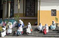Ethiopian Orthodox Tewahedo Church faithful attend a Sunday service at the St. Gabriel church in Addis Ababa