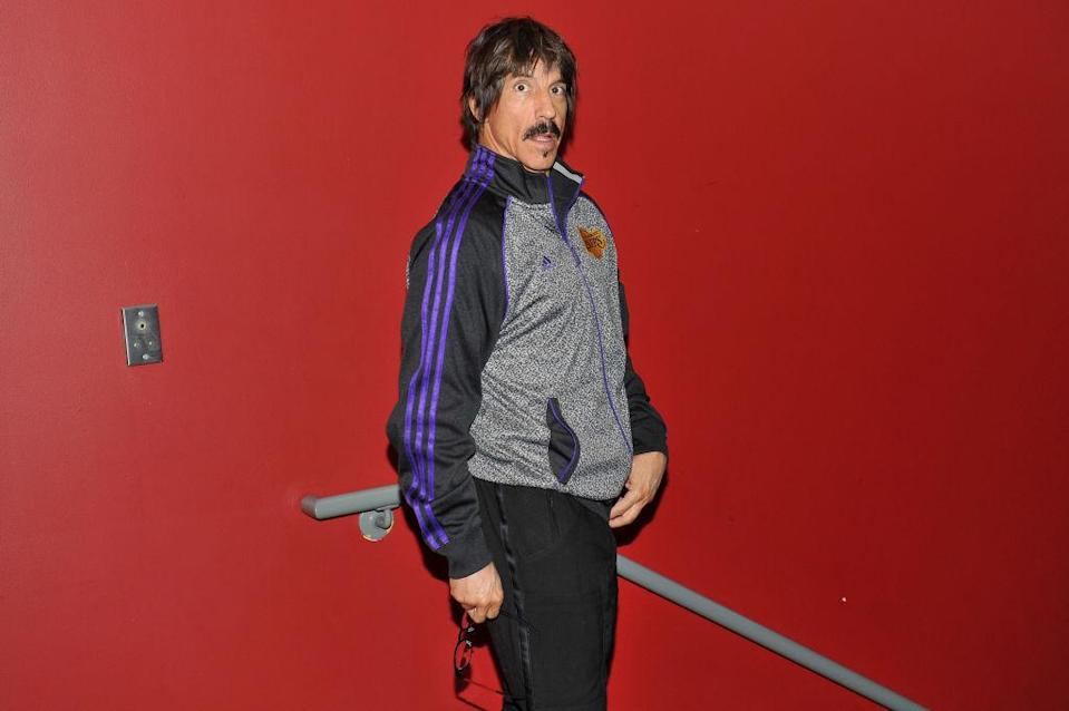 Red Hot Chili Peppers lead singer Anthony Kiedis got the boot from Saturday's Rockets-Lakers game. (Getty Images)