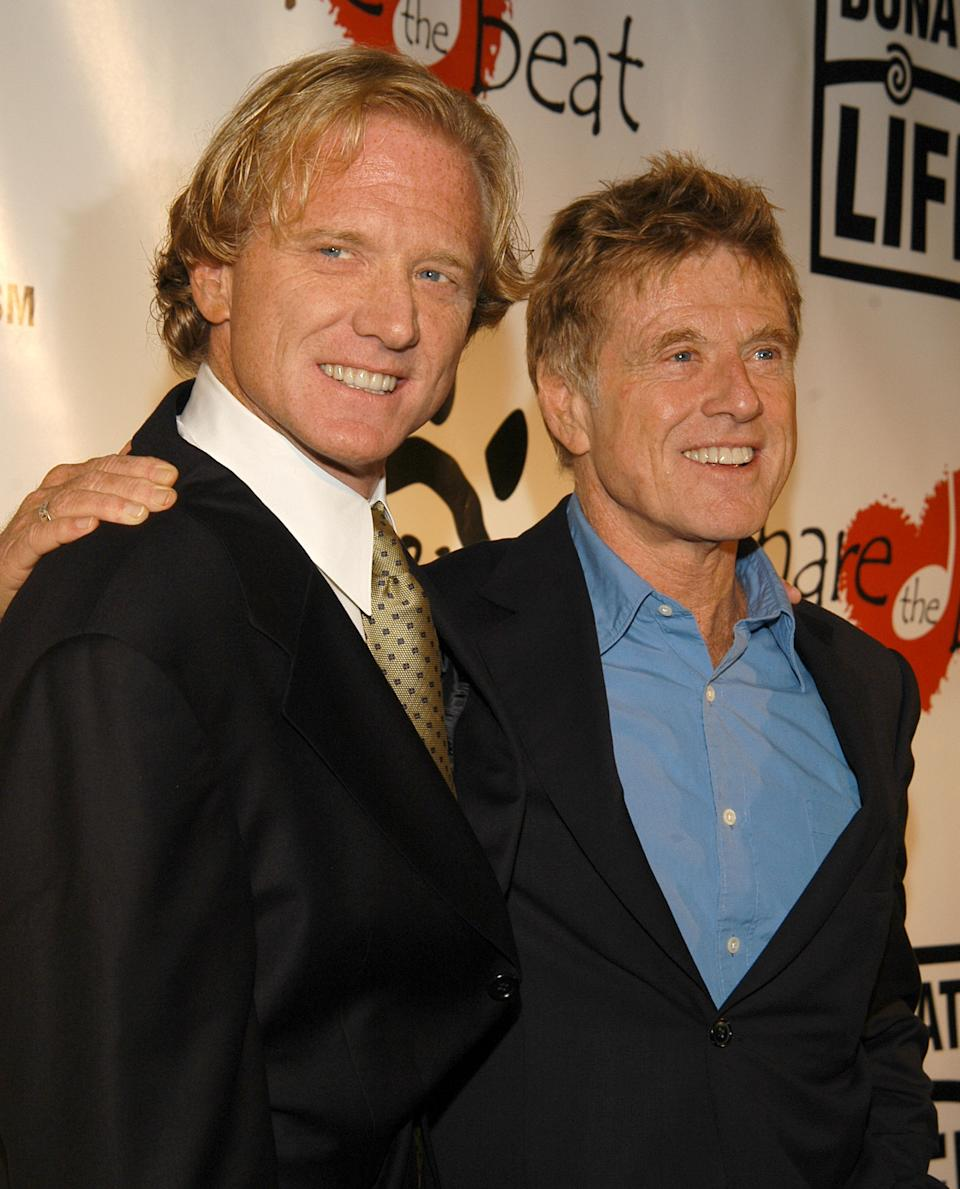 """James Redford and Robert Redford during First Annual """"Share The Beat"""" Gala at Cicada Restaurant in Los Angeles, California, United States. (Photo by Mark Sullivan/WireImage)"""