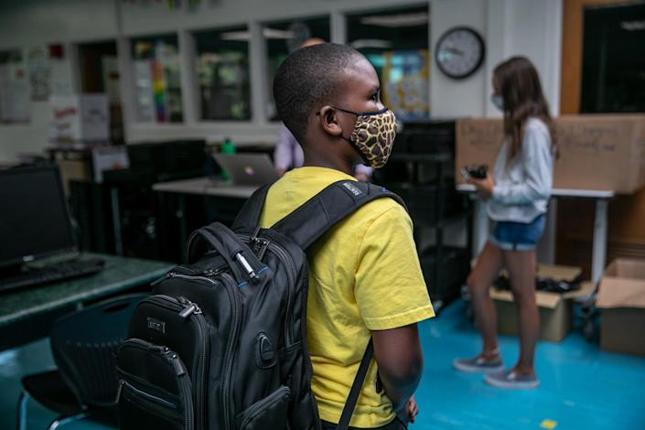 """A student at Rippowam Middle School in Stamford, Connecticut. <p class=""""copyright"""">John Moore/Getty Images</p>"""