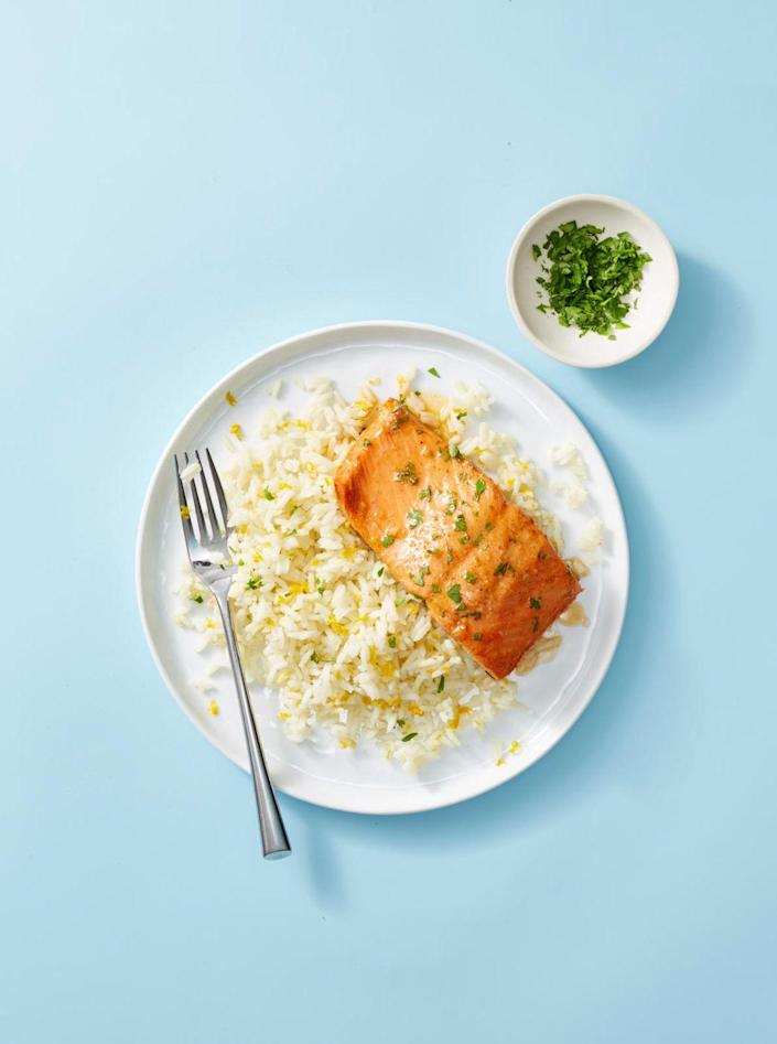 """<p>This salmon is delicious and impressive enough for company, but easy enough for any night of the week.</p><p><em><a href=""""https://www.goodhousekeeping.com/food-recipes/a35550063/garlic-butter-salmon-recipe/"""" rel=""""nofollow noopener"""" target=""""_blank"""" data-ylk=""""slk:Get the recipe for Garlic Butter Salmon »"""" class=""""link rapid-noclick-resp"""">Get the recipe for Garlic Butter Salmon »</a></em></p>"""