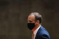 FILE PHOTO: Britain's Foreign Affairs Secretary Dominic Raab arrives at BBC Broadcasting House in London