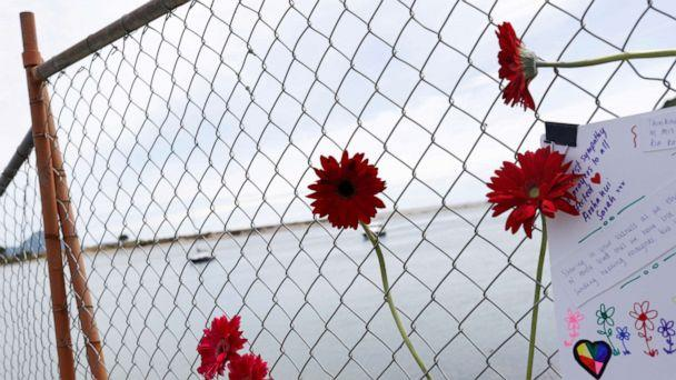 FILE PHOTO: Flowers are seen at a memorial at the harbor in Whakatane, Newzealand, on Dec. 11, 2019, following the volcanic eruption on White Island. (Jorge Silva/Reuters, FILE)