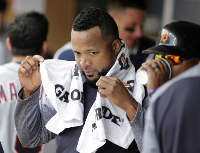 Detroit Tigers starting pitcher Francisco Liriano holds a towel in the dugout following the fourth inning of a baseball game against the Seattle Mariners, Sunday, May 20, 2018, in Seattle. (AP Photo/Ted S. Warren)
