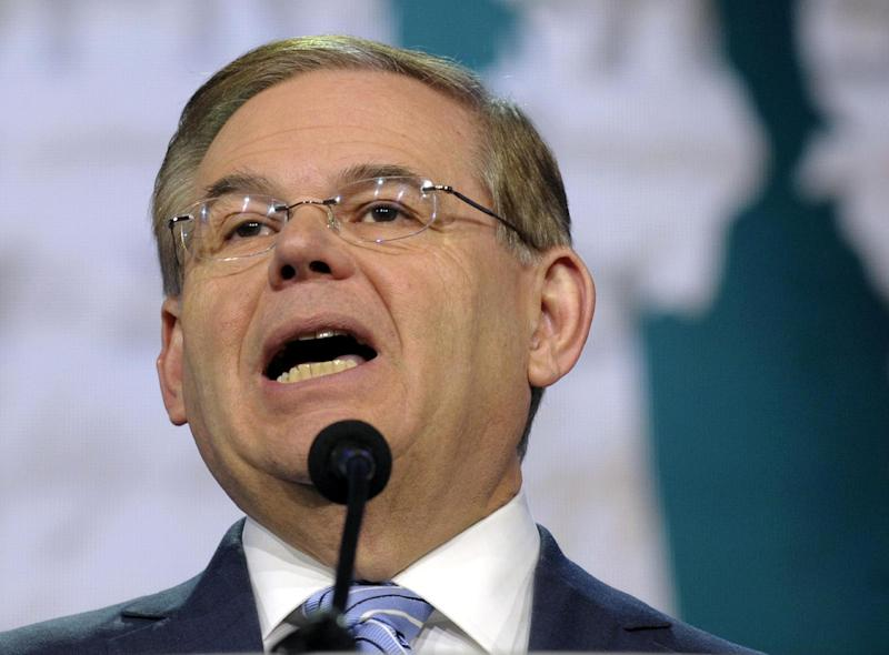 FILE - In this March 5, 2013 file photo, Senate Foreign Relations Committee Chairman Sen. Robert Menendez, D-N.J. speaks in Washington. The murky allegations involving Menendez, one of his top donors and prostitutes in the Dominican Republic have twisted in confusing directions this week. The latest: A woman said in a sworn affidavit that she was paid to lie when she claimed she had slept with the senator.  (AP Photo/Susan Walsh, File)
