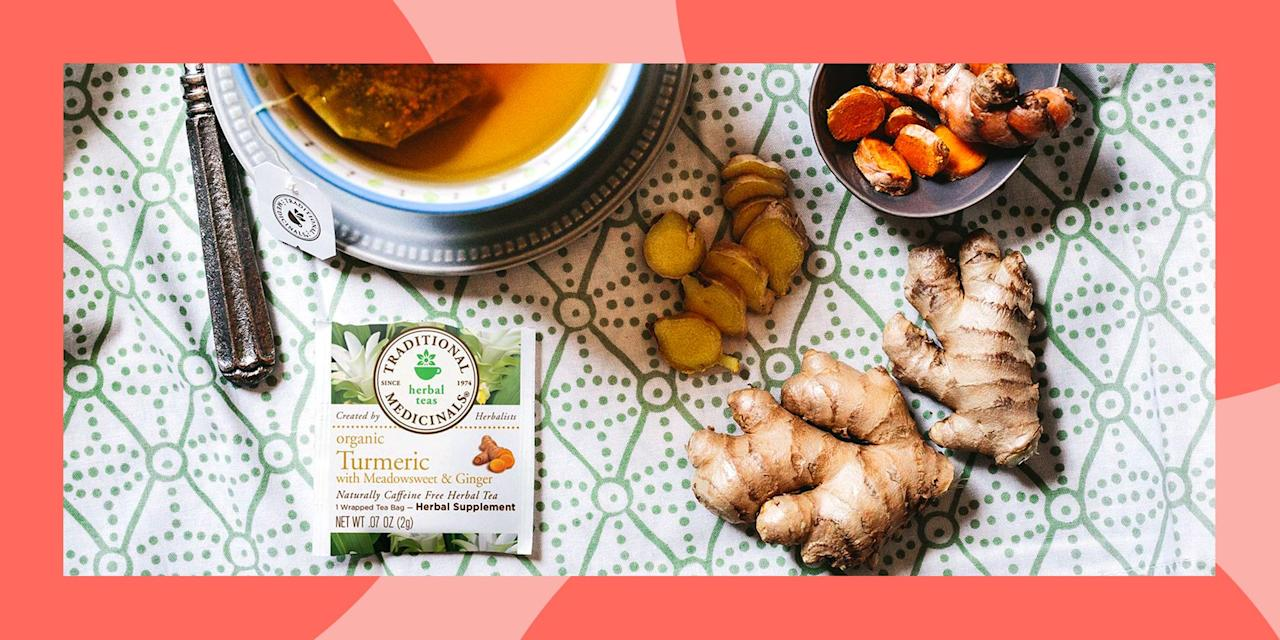 "<p>You've probably noticed that turmeric is literally everywhere — and <a href=""https://www.prnewswire.com/news-releases/curcumin-market-size-worth-1-30-billion-by-2025-cagr-12-3-grand-view-research-inc--811278562.html"" target=""_blank"">the turmeric market continues to grow</a>. From <a href=""https://www.cnn.com/2019/05/02/cnn-underscored/matcha-golden-milk-drinks/index.html"" target=""_blank"">golden milk lattes</a> to <a href=""https://www.onegreenplanet.org/vegan-recipe/golden-milk-ice-cream-vegan/"" target=""_blank"">turmeric-flavored ice cream</a>, turmeric is the superfood herb of <em>right now.</em> If you haven't heard about the many health benefits of turmeric by now, it's definitely time to tune in. </p><p>Traditionally used in Chinese and Indian folk medicine, turmeric is still commonly used today for its potent <a href=""https://www.ncbi.nlm.nih.gov/pubmed/17569207"" target=""_blank"">natural healing and anti-inflammatory properties</a>. One of the easiest and most efficient ways to weave this powerful ingredient into your diet is by regularly drinking a cup of turmeric tea. Here are our favorite turmeric teas right now. </p>"