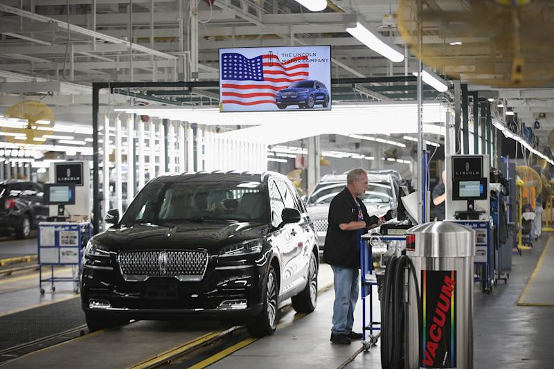 CHICAGO, ILLINOIS - JUNE 24: A Lincoln Aviator gets a final inspection as it rolls off the assembly line at the Chicago Assembly Plant on June 24, 2019 in Chicago, Illinois. Ford recently invested $1 billion to upgrade the facility where they build the Ford Explorer, Police Interceptor Utility and the Lincoln Aviator. (Photo by Scott Olson/Getty Images)