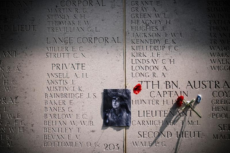 A picture of Captain Herbert Hunter from 7th Australian Infinity is seen on a wall at the Helles Memorial prior a memorial service marking the 100th anniversary of the start of the Battle of Gallipoli in Canakkale, on April 24, 2015 (AFP Photo/Dimitar Dilkoff)